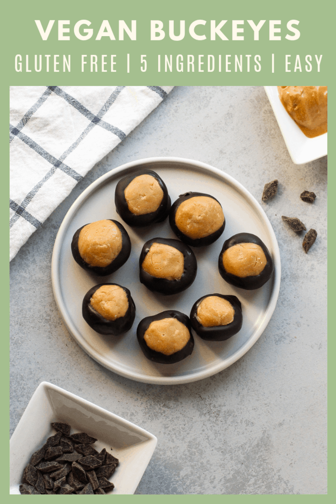 If you love peanut butter and chocolate, you\'ll love buckeyes! These buckeyes are vegan and gluten-free so everyone can enjoy them! It\'s a perfect tailgate dessert and football fans will go crazy for these treats.