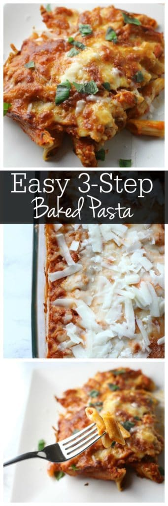 This baked pasta recipe is just 3 simple steps. You'll have dinner on the table in no time! Perfect for a weeknight vegetarian dinner!
