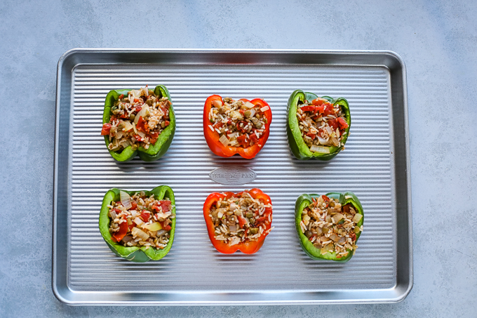 stuffed peppers on a pan