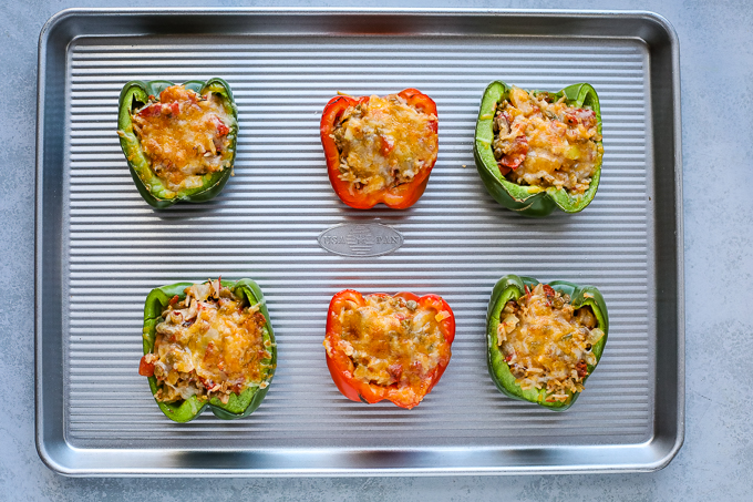 cooked stuff peppers on a baking tray