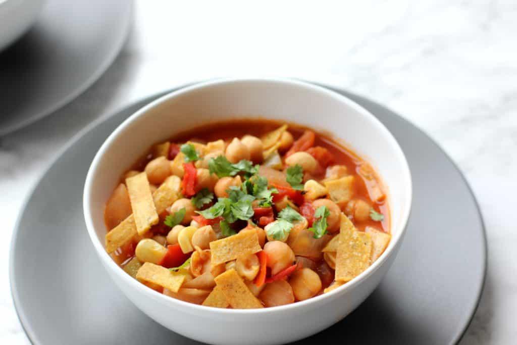 vegan chickpea tortilla soup