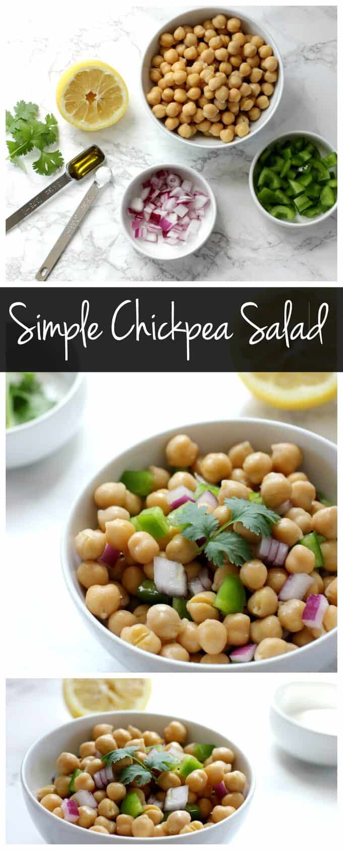 This simple chickpea salad is an easy vegan and gluten free side dish! It's a low calorie recipe that is full of protein and fiber!