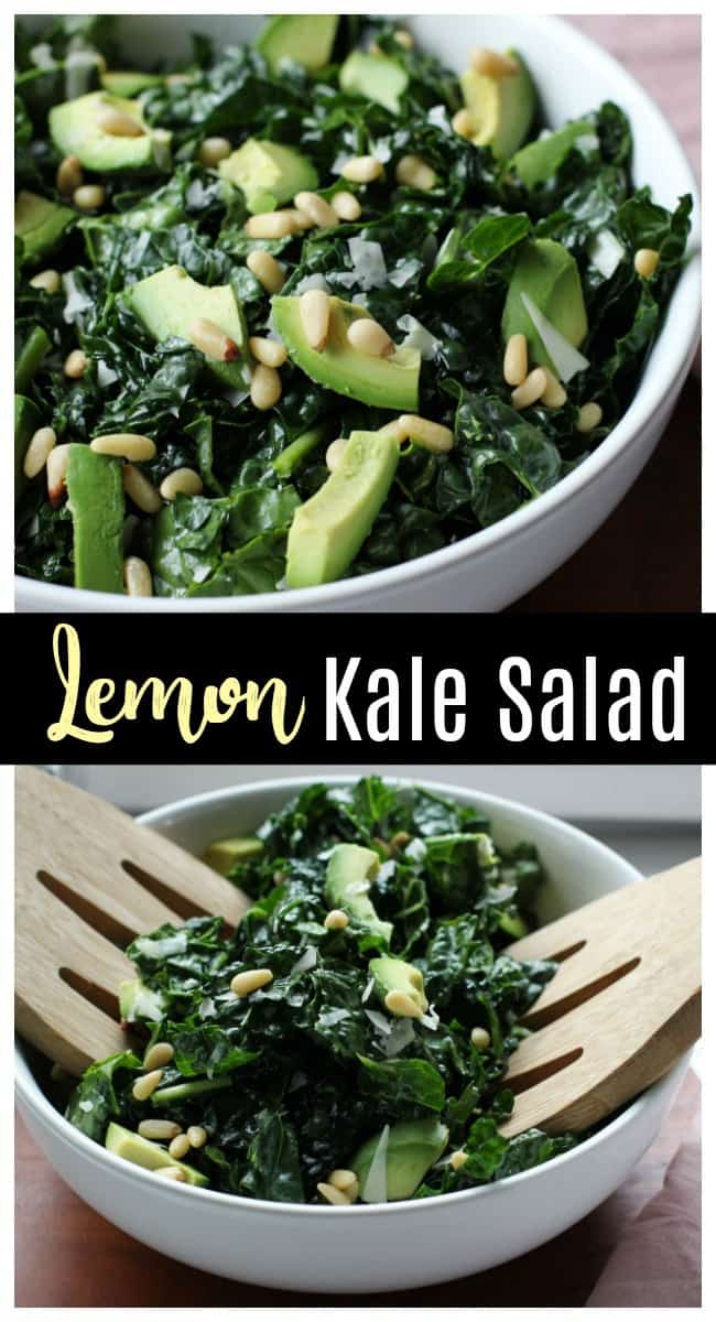 This lemon kale salad has a simple, tangy dressing that pairs perfectly with creamy avocado and salty pine nuts!