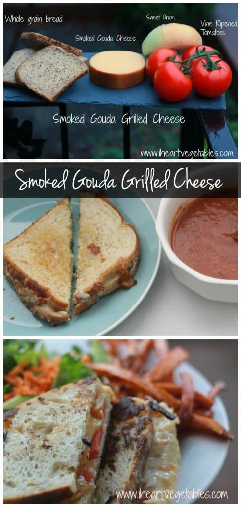 Step up your grilled cheese game with this smoked gouda grilled cheese. It's topped with caramelized onions and roma tomatoes!