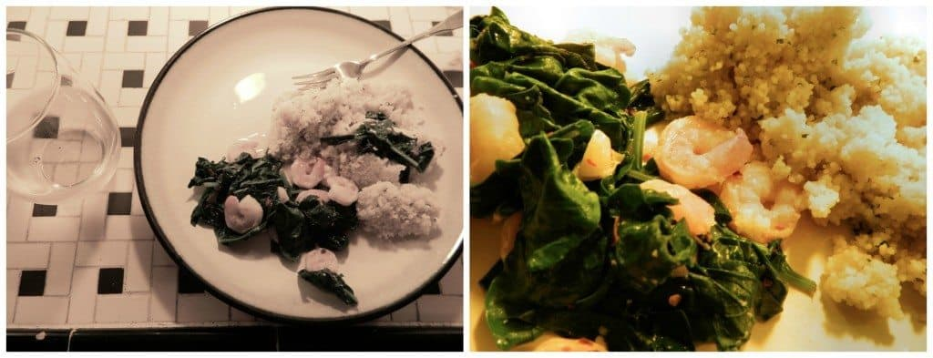 Sauteed Spinach & Shrimp via Chic Stripes