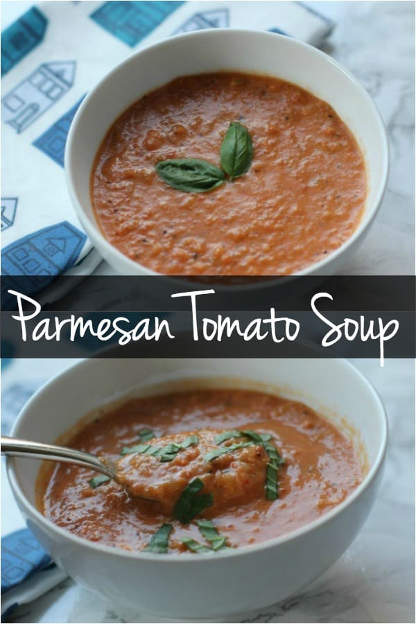 This Parmesan tomato soup recipe uses canned tomatoes for a quick and easy dinner recipe! Try this vegetarian tomato soup for your next weeknight dinner!