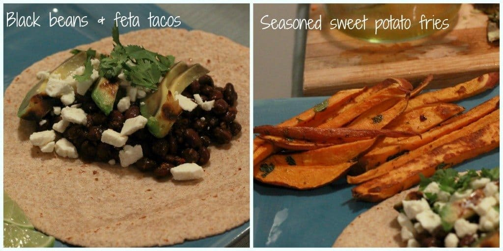 black bean tacos and sweet potato fries