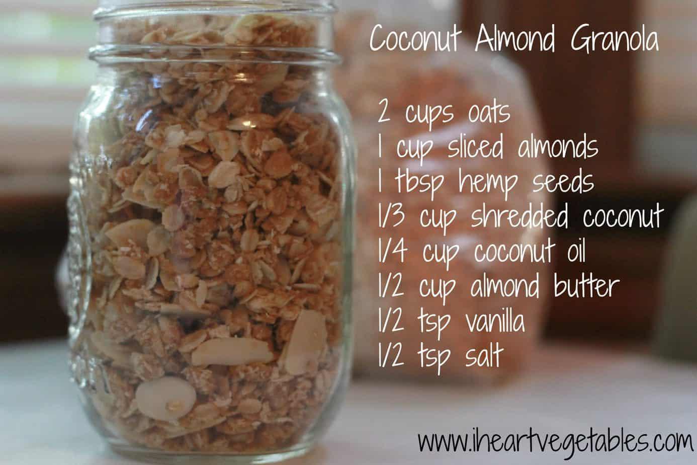 Coconut Almond Granola - I Heart Vegetables
