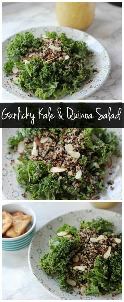 This garlickly kale and quinoa salad is vegan, gluten free, healthy, and delicious! It's loaded with protein and healthy fats with no oil!