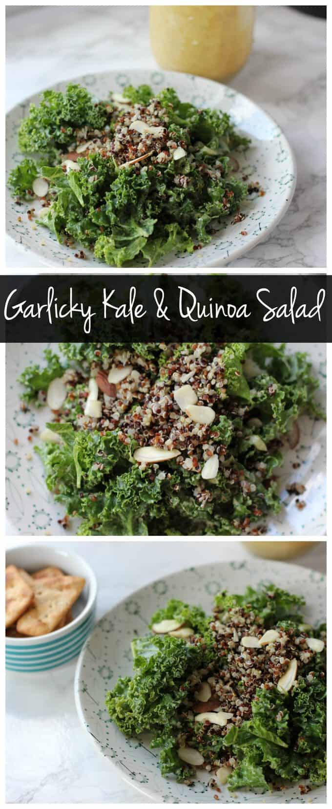 This garlicky kale and quinoa salad is vegan, gluten free, healthy, and delicious! It\'s loaded with protein and healthy fats with no oil! #salad #oilfree #vegan #glutenfree