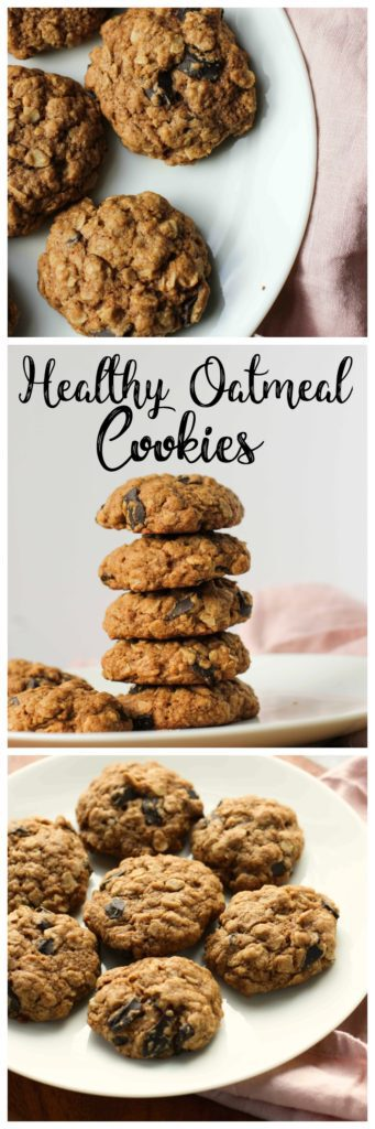 These healthier oatmeal cookies are made with whole wheat flour and oats. They're just as delicious as your favorite chewy oatmeal cookies, but with healthier ingredients! It's perfect when you need a healthy dessert!