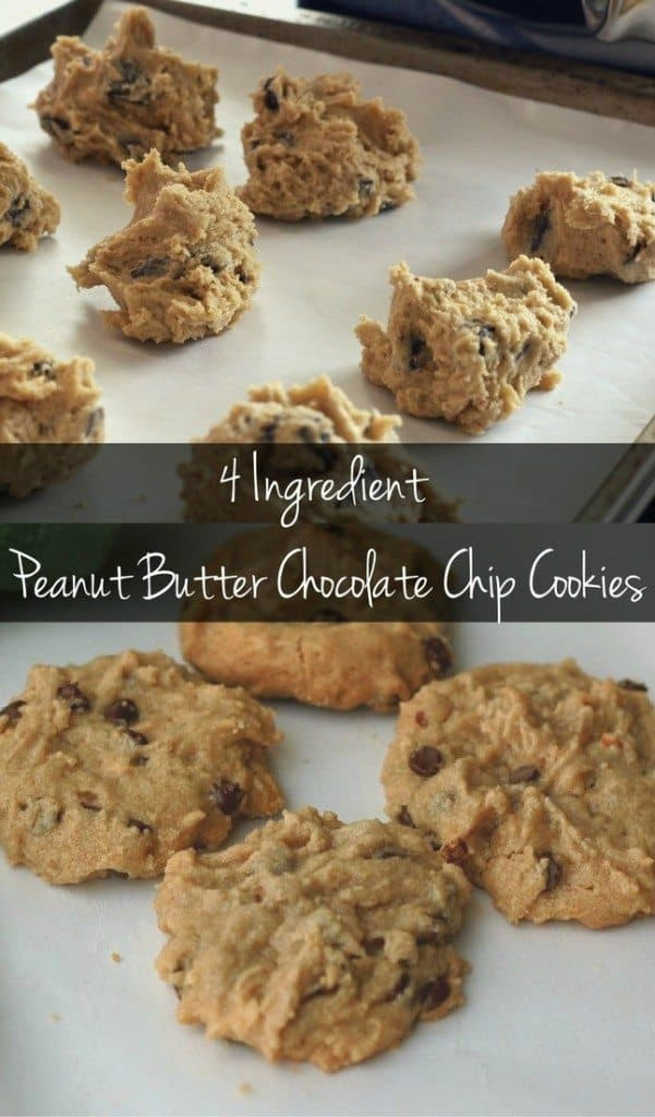 These 4 ingredient peanut butter chocolate chip cookies are the easiest cookie recipe EVER! You can make them in just a few minutes!