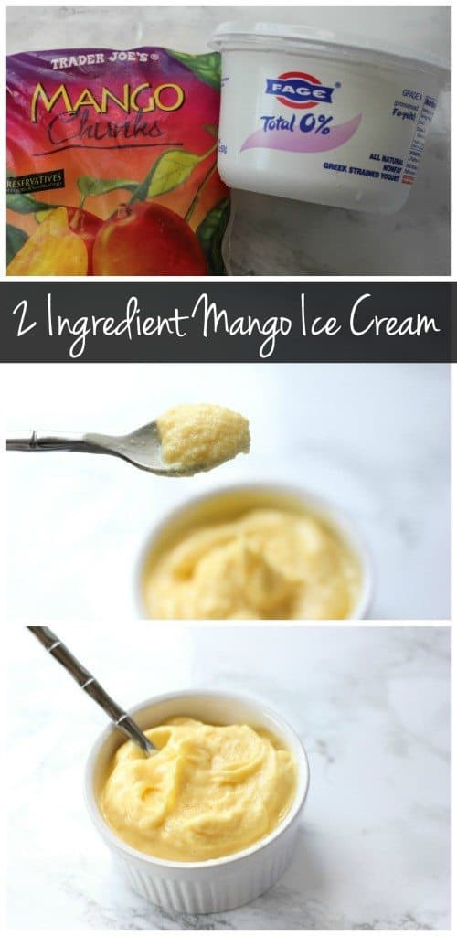 This 2 ingredient mango ice cream is the perfect healthy treat! There's no added sugar and plenty of protein to keep you full!
