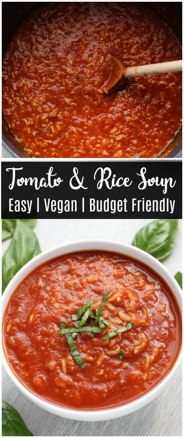 This hearty tomato and rice soup is an easy and budget-friendly dinner idea! With just a few pantry staples, this vegan recipe comes together quickly.