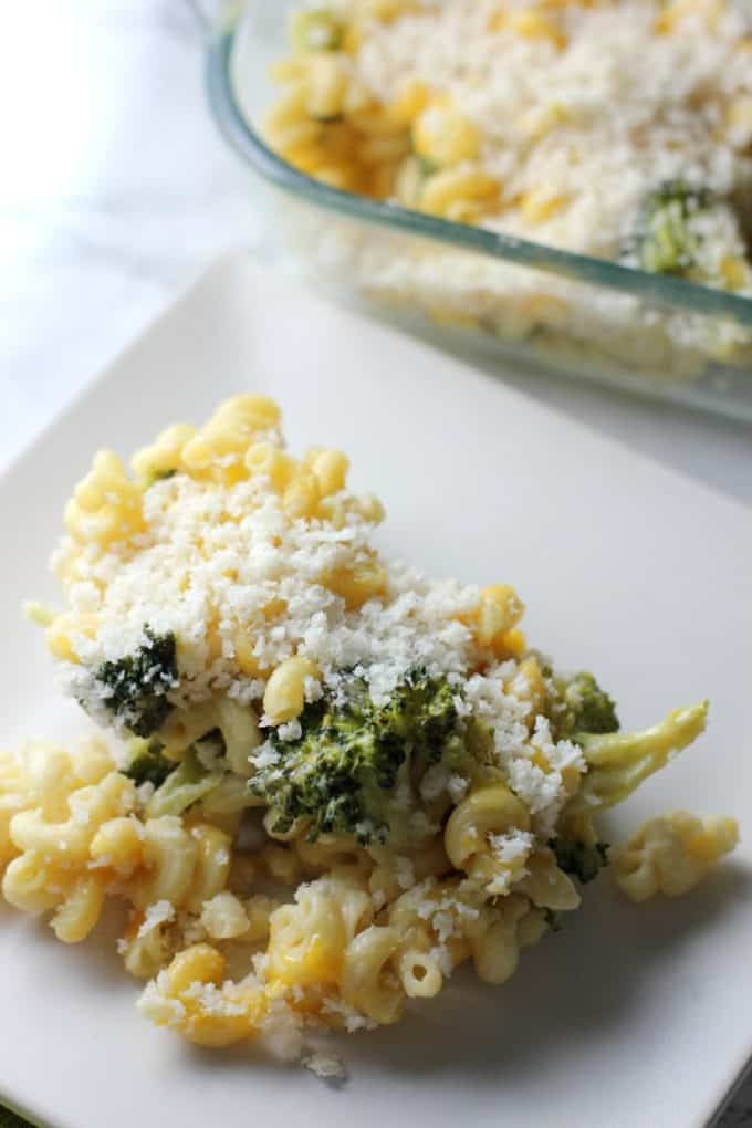 This healthy broccoli macaroni and cheese will satisfy your cheesy cravings without all the calories and fat of traditional macaroni and cheese. It's a perfect side dish or vegetarian main dish!