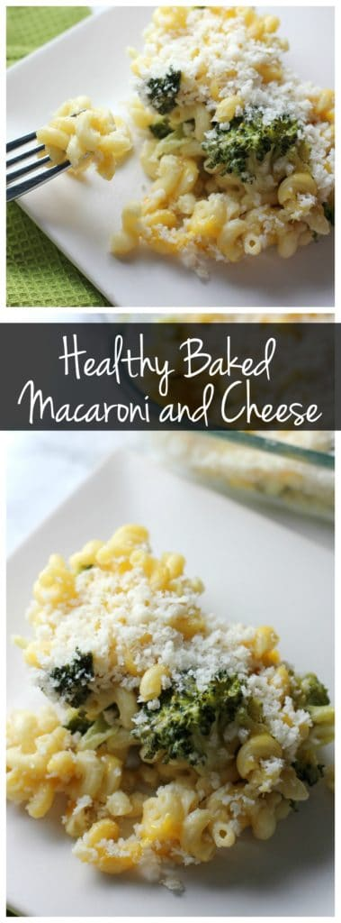 This healthy baked macaroni and cheese will satisfy your cheesy cravings without all the calories and fat of traditional macaroni and cheese. It's a perfect side dish or vegetarian main dish!