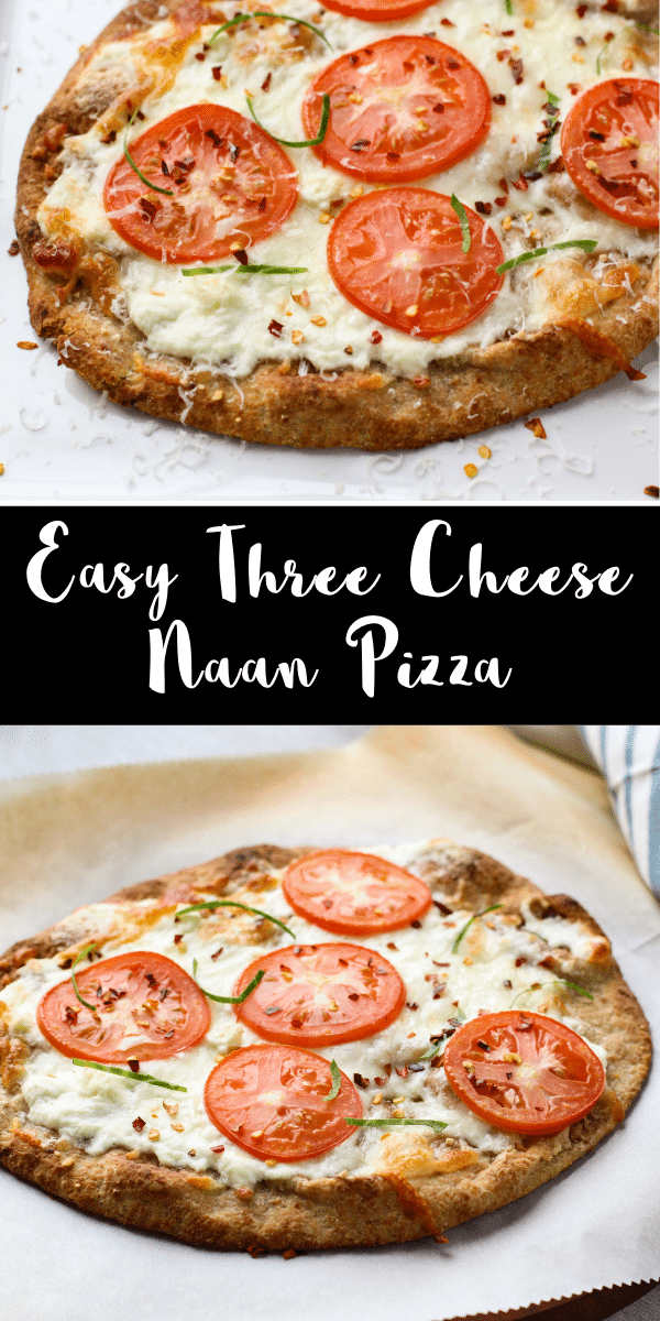 This easy three cheese pizza is a delicious single serving pizza recipe! It\'s perfect when you\'re craving something cheesy and you want pizza for one! This pizza only takes a few minutes to prepare so you can have dinner ready in a flash!
