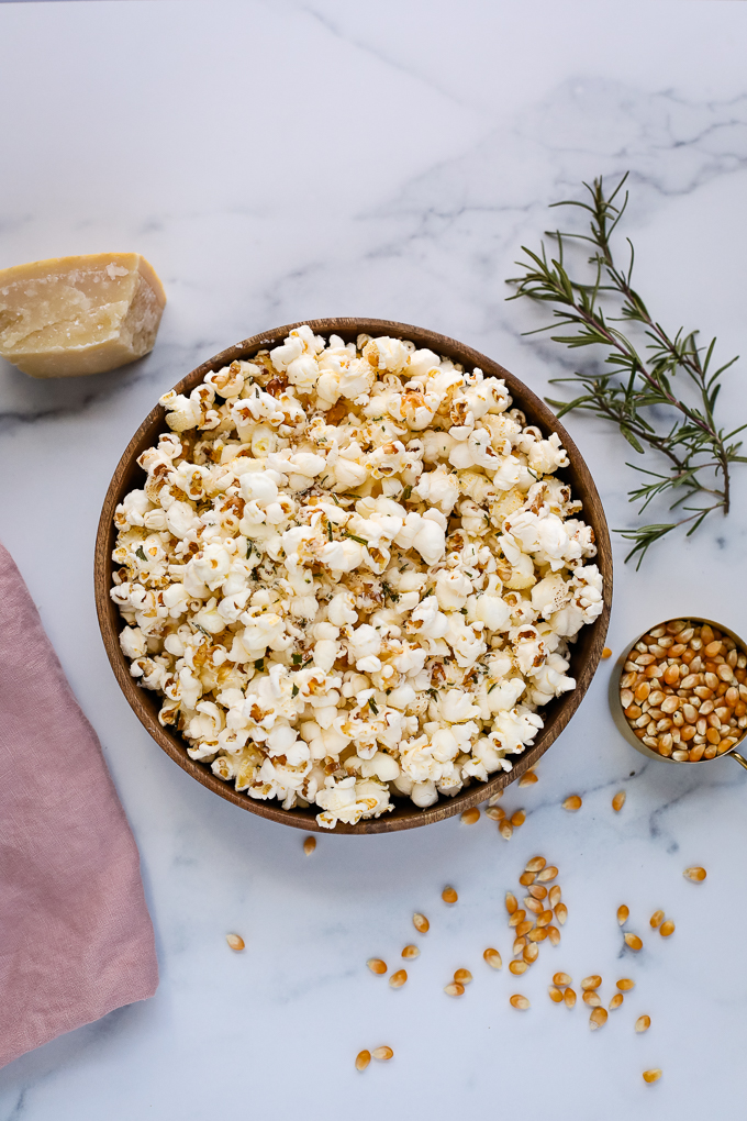 rosemary parmesan popcorn in a bowl