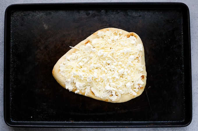 flatbread with cheese on top