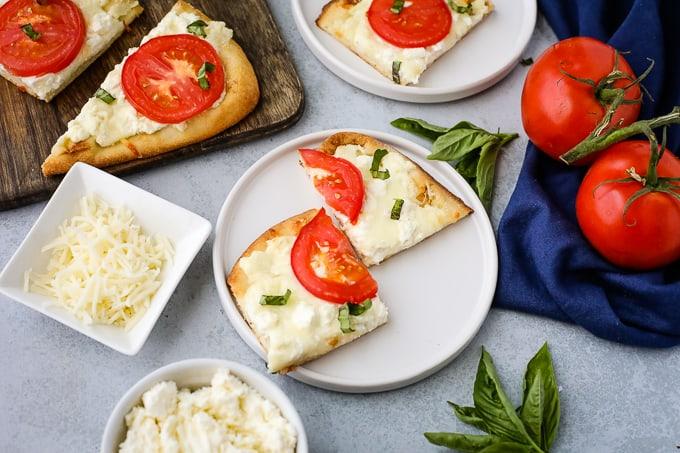 white flatbread pizza slices