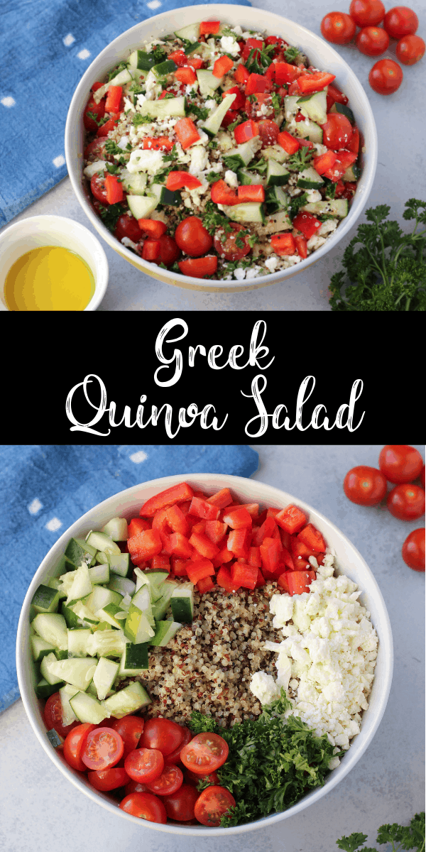 This Greek quinoa salad is a protein-packed, gluten-free recipe that loaded with vegetables. It's a perfect make-ahead salad recipe and it's hearty enough to be eaten as a main dish!