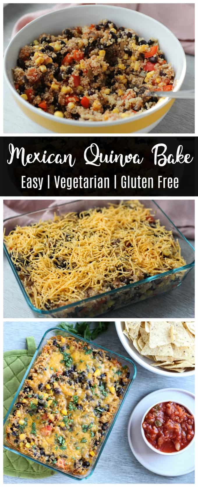 This Mexican quinoa bake is an easy gluten free, vegetarian dinner recipe! Loaded with vegetables, beans, and quinoa, this is a recipe that will keep you full!