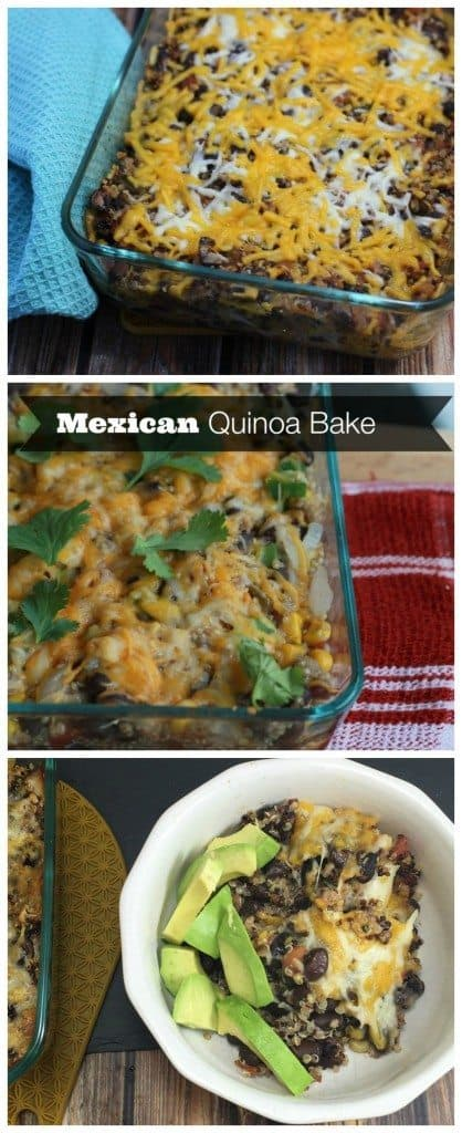 This Mexican Quinoa Bake is healthy, vegetarian, and gluten free. It's an easy recipe to make for a quick weeknight dinner!