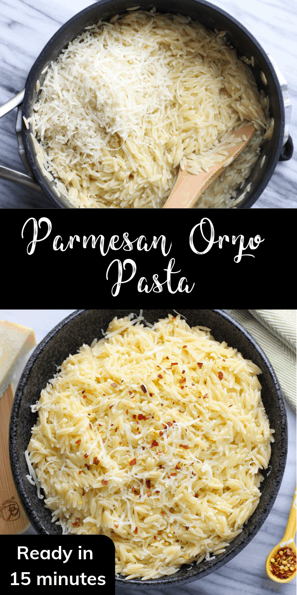 This easy Parmesan orzo pasta can be made in just 15 minutes! It\'s a perfect vegetarian side dish and you only need a handful of pantry staples to prepare it!