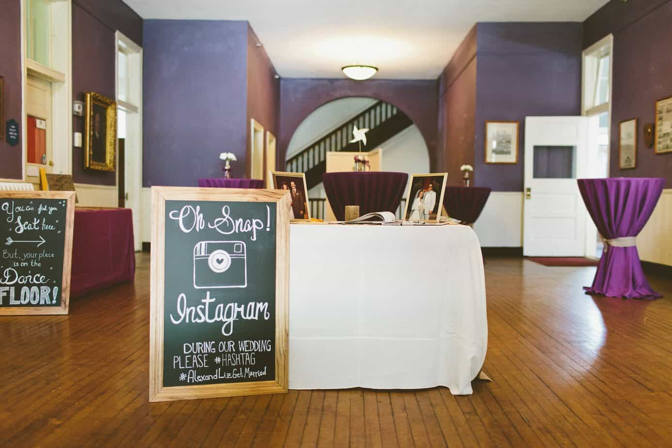 wedding chalkboard sign instagram guestbook table