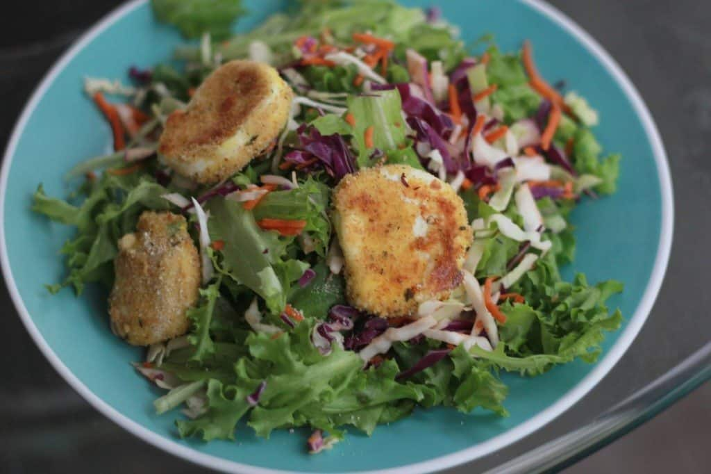 goat cheese medallions on salad