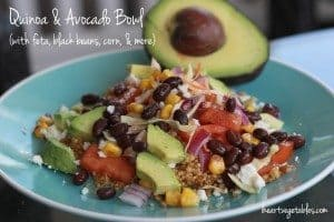 Quinoa and Avocado Bowl (with lime + feta)