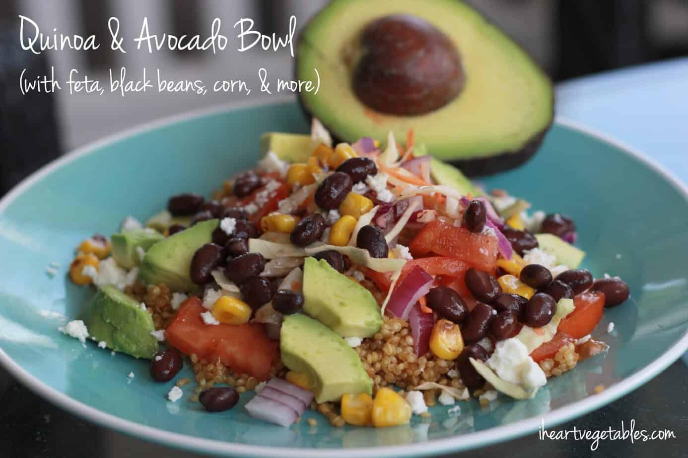 Quinoa and Avocado Bowl (with lime + feta)