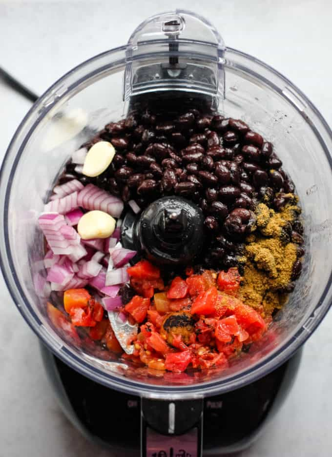 black bean dip ingredients in food processor