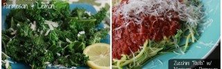 kale salad and zucchini pasta