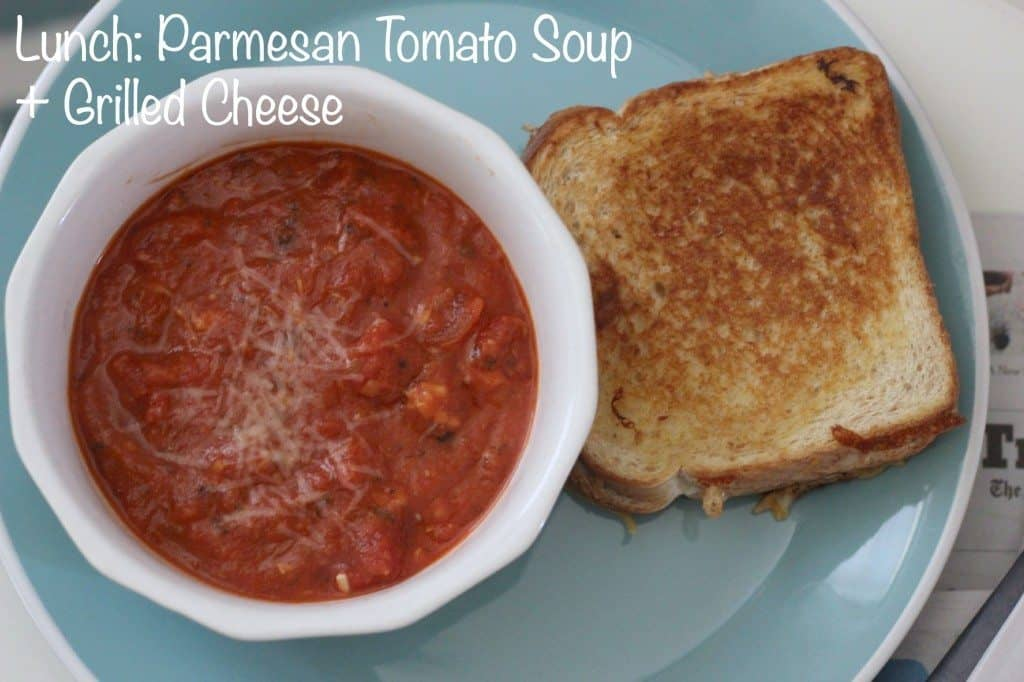 lunch of tomato soup and grilled cheese