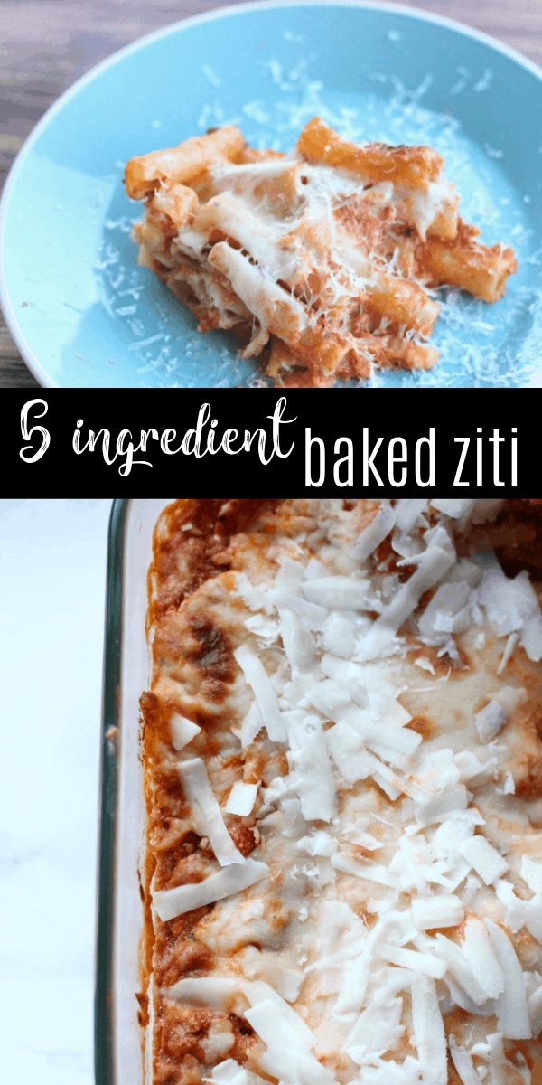 This 5 ingredient baked ziti is perfect for busy days when you need a quick dinner idea! You can have dinner in the oven in just 15 minutes!