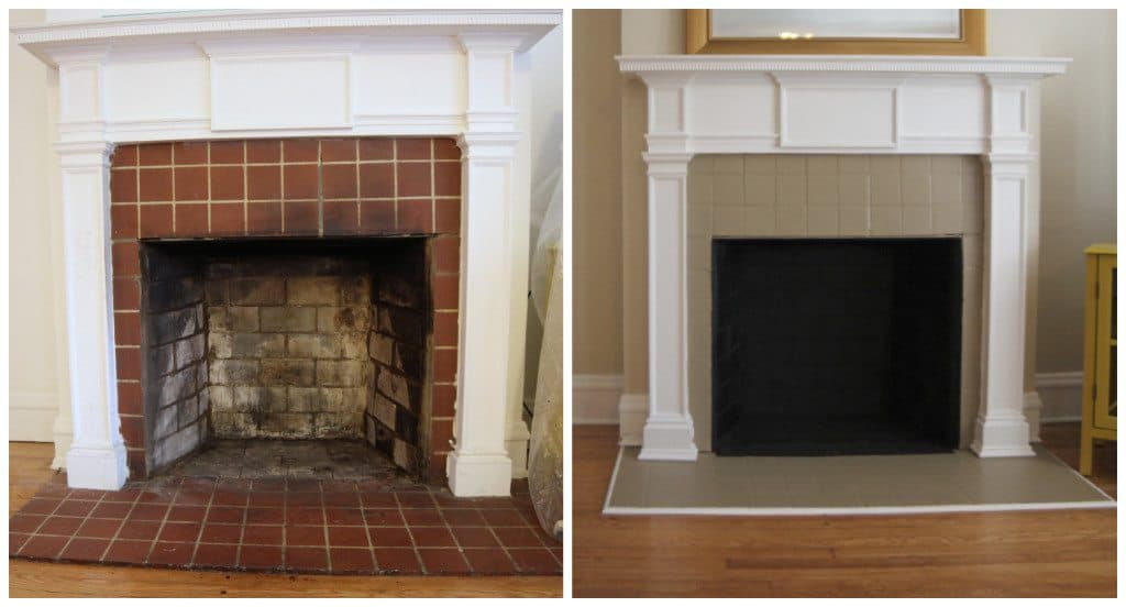 painting fireplace tile