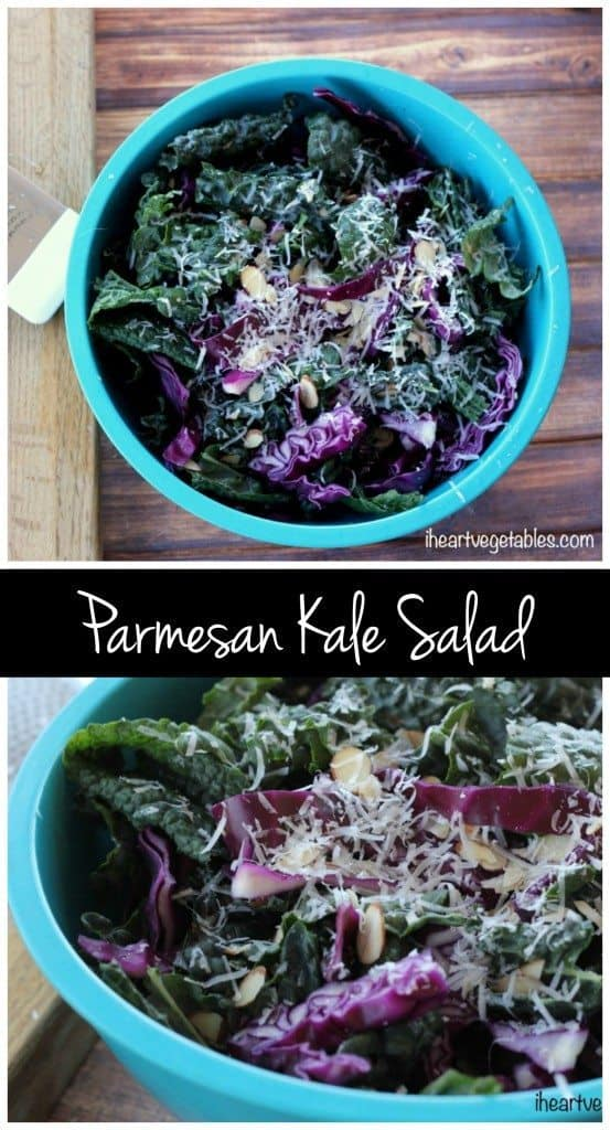 This crunchy kale salad is easy to throw together. The salty parmesan makes this salad hearty enough for a main dish!