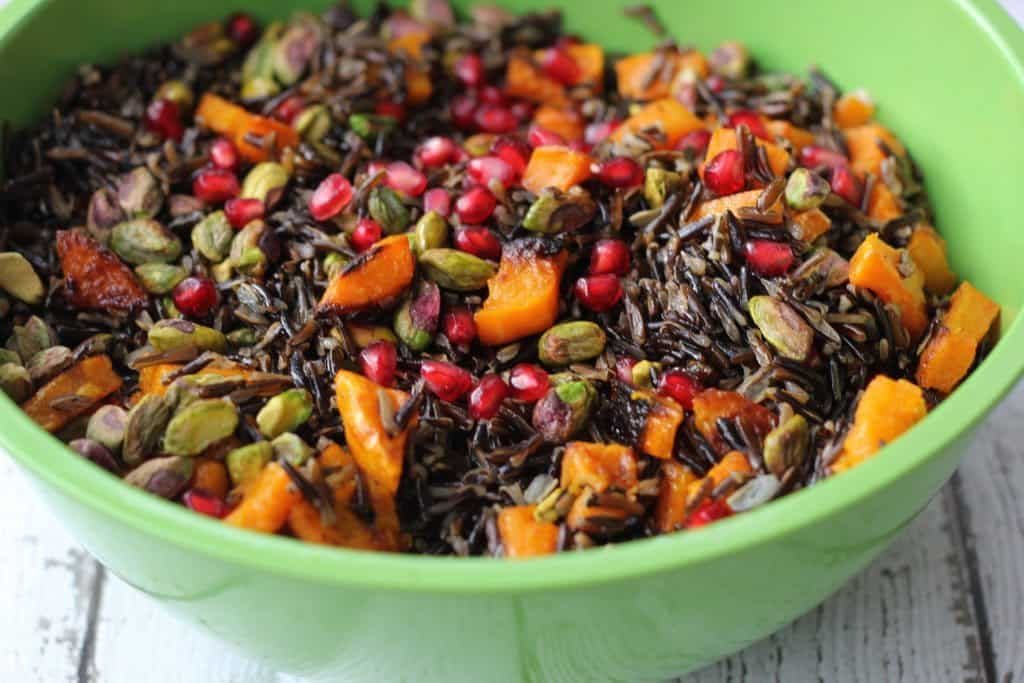 wild rice in a green bowl