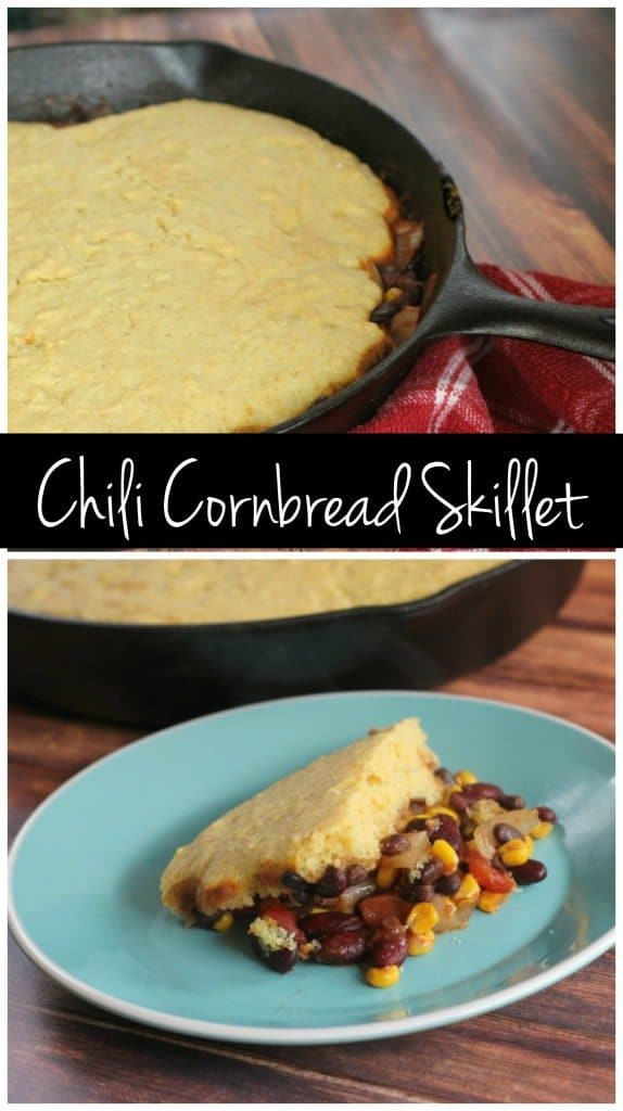 This one dish chili + cornbread skillet is vegan but it'll even please the meat eaters! It'll the perfect cold weather dish!