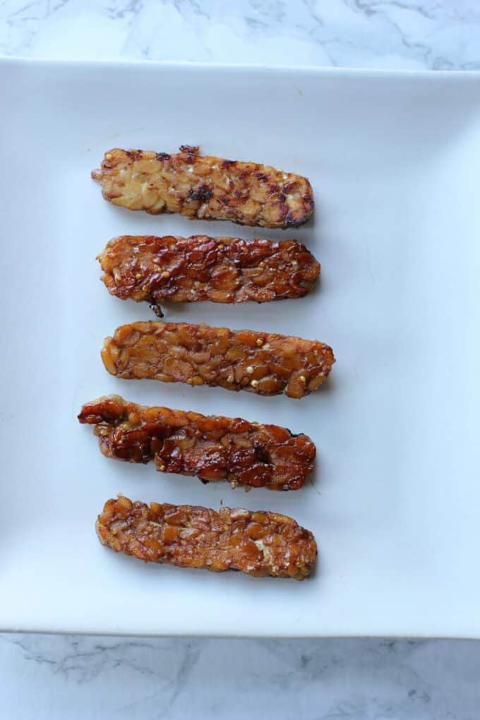 tempeh bacon on a plate