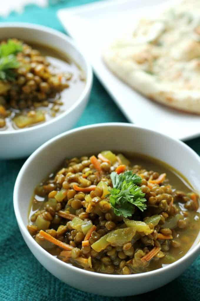 moroccan lentil soup in a bowl
