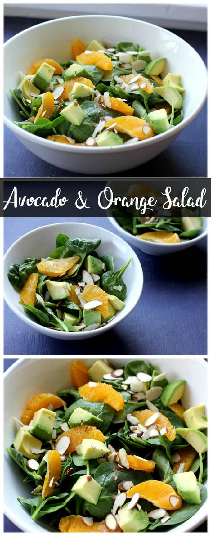 The creamy avocado and sweet orange slices give this spinach salad a wonderful flavor! It\'s an easy weeknight side dish! #salad #vegetarian #vegan