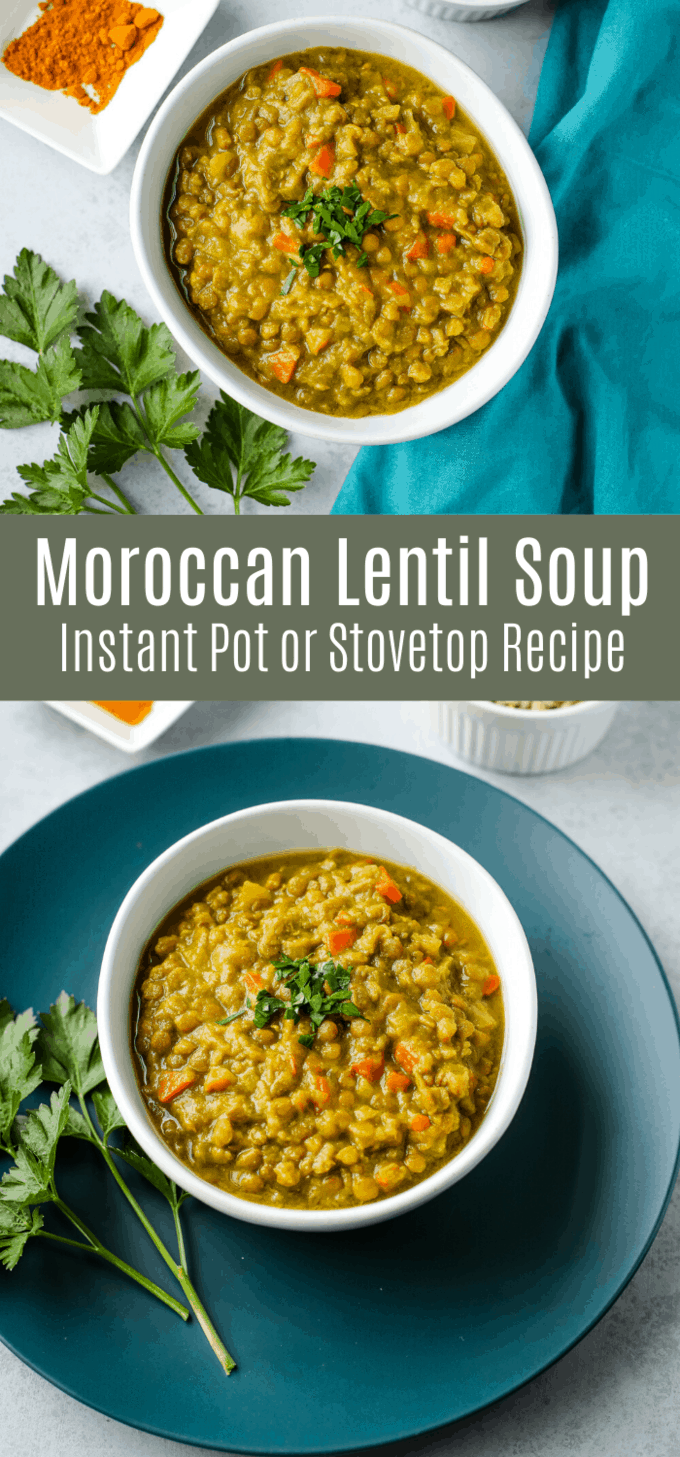 This Moroccan spiced lentil soup is a deliciously flavorful soup with just the right amount of spice! It\'s budget-friendly and this recipe can be made on the stovetop or in an Instant Pot. It\'s a great weeknight meal with plenty of plant-based protein.