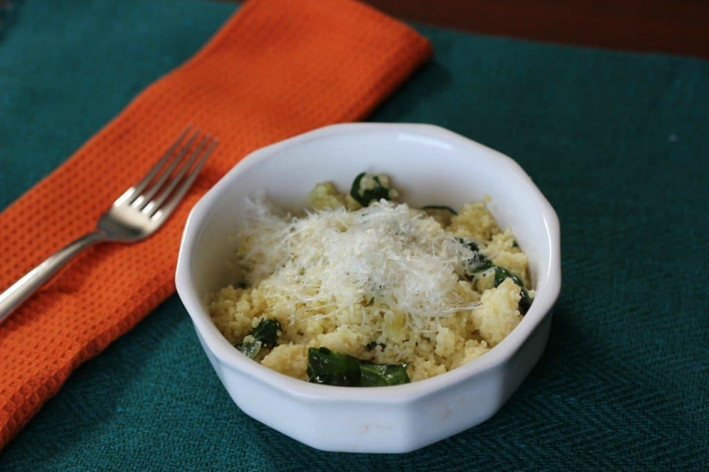 parmesan and spinach couscous dish