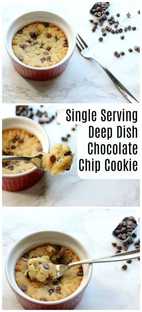 This single serving deep dish chocolate chip cookie recipe is easy to make! It's a simple vegan dessert, perfect for any chocolate craving!