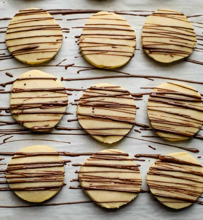 shortbread cookies with a chocolate drizzle