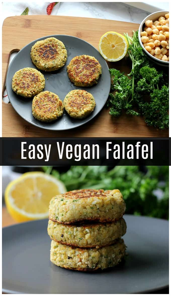 This easy vegan falafel is made with canned chickpeas so it only takes a few minutes to prepare!