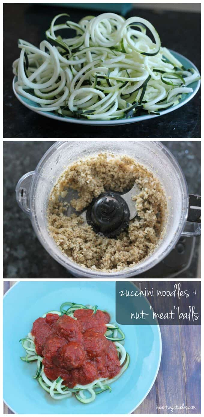 zucchini noodles and nut meat balls