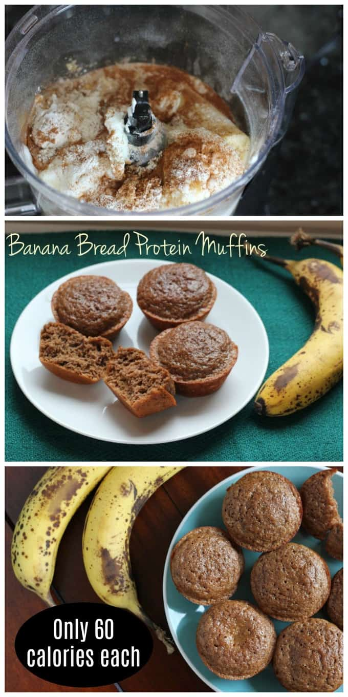 At just 60 calories each, these banana bread protein muffins are a perfect low calorie snack!